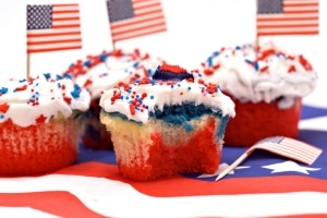 Cupcakes decorated for Independence Day